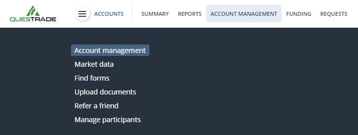 Questrade Account Management